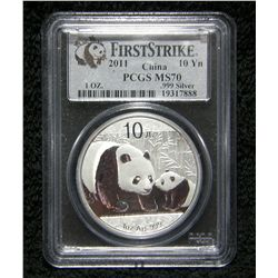 Perfect First Strike PCGS MS70 2011 10Yn 1 Oz Silver Panda