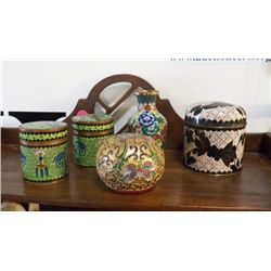 Cloisonne Lot of Jars - Vase & Egg all beautiful painted