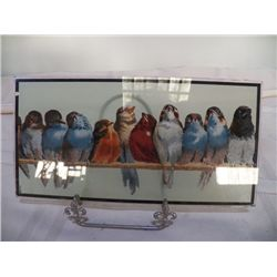 "Double sided Parrot Glass Picture 10"" x 5"""