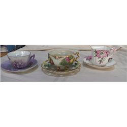 3- Bone China Cups & Saucers Lavender is unmarked, Fruit Royal Sealy China marked Japan, Pink Flower
