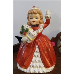 NAPCO 1956 #cx2266a Hand Painted Porcelain Christmas Lady Figurine Planter with Package.  Original s