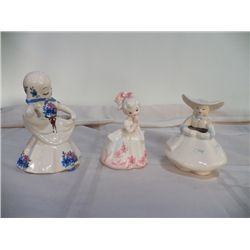 3-Vintage Lady Pocket Planters all marked 1-White with Blue & Pink Flowers, One White with Pink Flow