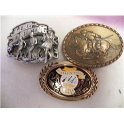 3- Belt Buckles 1- Pony Express, 1- line Dancin 1- Country MusicBuckle