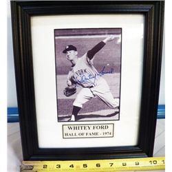 Whitey Ford Autographed Frame With Certificate of Authenticity