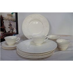 Wedgewood Patrician 4 pcs. Dinner Set 1-cup has small chip 4-cups, 3-saucers, 6 plates