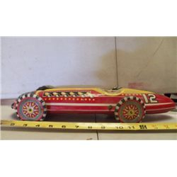 "Mar Race Car Metal Red Wind Up approx. 17"" x 5.5"" x H  2.5"""