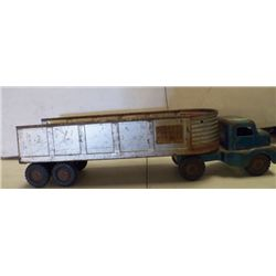 "Structo Truck & Trailer Metal Silver & Green approx 20"" x 5.5 x H 5."