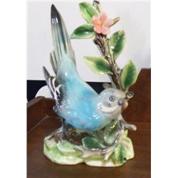 "Porcelain Blue Parakeet Japan approx 4"" x H 7""  small chip on one wing"