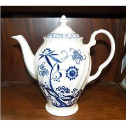 "Porcelain Blue Nordic Coffee Pot approx. 10"" x H11""  no chips or cracks"