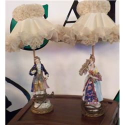 "Pair of Victoria Lamps 1- Man & 1- Women approx 15"" tall no cracks no chips -beautiful pair"