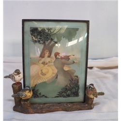 "Porcelain Birds on bark  With Victorian Couple approx 10"" x 9"" with picture---picture is removable"