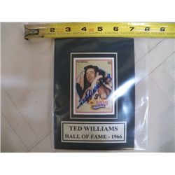 Ted Williams Autographed Mat With Certificate of Authenticity