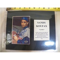 Sandy Koufax Autographed Mat With Certificate of Authenticity