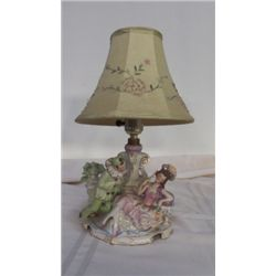 "Vintage Victorian Lamp marked Germany #7317 approx 8: x 10"" greens & pinks"
