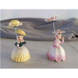 Napco 1956 Figurines pair of Lady's W/Umbrellas