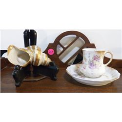 Vintage Limoge Sea Shell & Tea Cup & Saucer with Limoge Floral Cup & Saucer