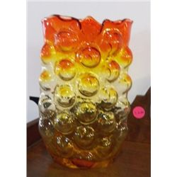 "Hand Blown Yellow & Orange Vase approx. 5"" x H 8""  no chips or cracks"