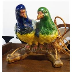 "Hanging Parrots Pottery Planter Marked Japan approx.6.5"" x H 7""  no chips or cracks"