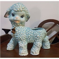 "Sticker Still on The Blue Lamb Figurine 1950'S Goldammer Ceramics San Francisco approx 7"" x H 7.5"" h"
