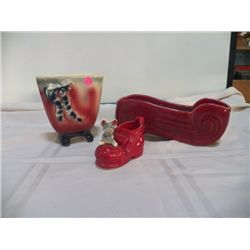 3- Pottery Planters - Red Shoe with Mouse 1- Pink Planter with Ribbon, 1- burgandy planter