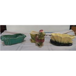 "3-Vintage Pieces of Pottery 2- MCCoy green planter marked McCoy approx.10"" x 5' x H 3"", Yellow & gre"