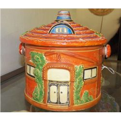 "Vintage Cookie Jar Orange & Green Marked MARKED Japan good condition  approx 10"" x H 9""  with lid  b"