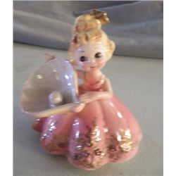"Josef Original Lady in Pink With Sea Shell & Pearl approx. 4"" x 4.5: no chips or cracks"