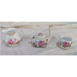 3-pcs creamer & sugar set fine china Lefton creamer with long handle -4.5  x 4.5 , round sugar bowl