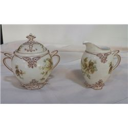 Old Ivory Silesia   A6 Creamer & Sugar no chips or cracks Sugar is 5.5  x 5.5  , creamer is 4.5 x 4.