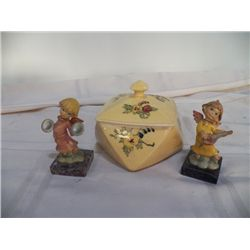 Candy Dish yellow & 2 Figurines