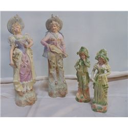 "2- pair Man & Woman Victorian Figurines Approx 14"" Tall very nice, 1-pair 10"" tall"