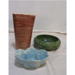 "3- Pieces Vintage Shawnee Pottery 1-Green marked 3025 approx. 8"", 1- Vase Brown marked 87 approx 5"""
