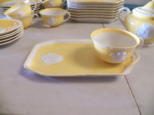 ... Image 3  Tea Set With White Cameo Marked Musterschutz Sandwich plates- Cups \u0026 Saucers ... & Tea Set With White Cameo Marked Musterschutz Sandwich plates-Cups ...
