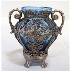 """Blue Hand Blown Vase In Silver Plate Footed Holder approx. 4.5"""" x H 4"""""""