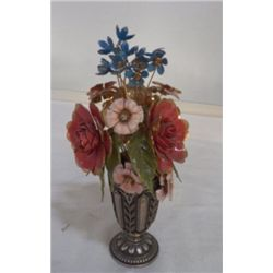 """The Royal British Bouquet by Faberge FM 78 approx 4"""" x H 8"""" Silver Plate vase with hand painted flow"""