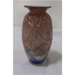 """Hand Blown Vase Brown-Blue-White approx 3"""" x  H   7""""  marked Nourot #187-79"""