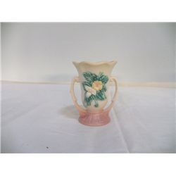 """Hull Double Handled Vase 5.5"""" x H 5"""" yellow with pink bottom  no cracks or chips marked W 3"""