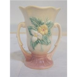"""Hull Double Handled Vase 5.5"""" x H 5"""" yellow with pink bottom  no cracks or chips"""