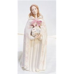"""Bisque Porcelain Figurine Lady holding Rabbit approx.  4"""" x H10""""  marked Cyhs"""