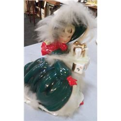"""Napco Ceramics Japan X-Mas  lady in Green approx 6.5 x 8""""  original sticker still on her no chips or"""