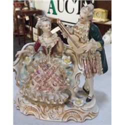 """Victorian Couple """"Figurine"""" Signed & Marked approx 8"""" x 8""""  no chips or cracks approx 1940'S   Meiss"""
