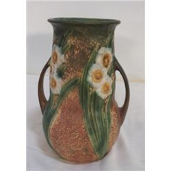 """Old Roseville Jonquil Double handled Vase approx. 7"""" x  H 9.5'  is marked with Roseville sticker on"""