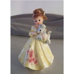 """Lefton Porcelain Yellow Lady marked 6987 approx 5"""" x 8""""  Stickers still on no cracks or chips"""