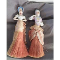 """Pair of Porcelain Victorian Figurines Brushes approx 2.5"""" x 8""""  Very good condition"""