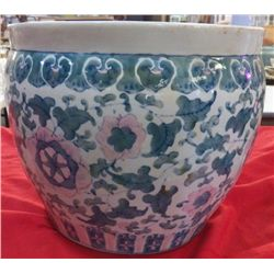 """Large Signed Oriental Ceramic Planter Approx 14"""" Diameter x 12"""" Tall"""