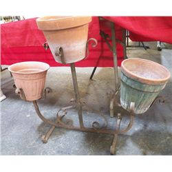 """Wrought Iron Planter Three Arm Metal Planter with pots Approx 32"""" wide x 28"""" tall"""