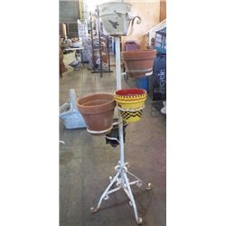 "5 Pot Wrought Iron Plant Holder Approx 19"" x 49"" with pots"