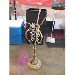 """Old Wrought Iron Plant Stand Very nice large Pot holder with Iron Base Approx size 14"""" x 33"""""""