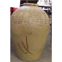 "Large Orential Clay Pot Approx size 14"" x 20"" Tall Heavy piece"