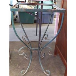 "Wrought Iron Plant Table Needs Top Yard Art Approx size 14"" x 26""  can use glass for top or marble"